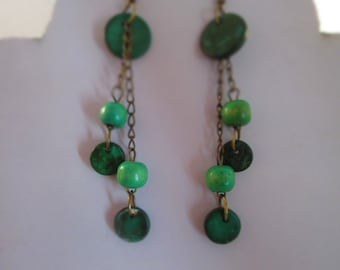 SALE Green and Bronze Tone Chain Earrings with Wood Bead Dangles