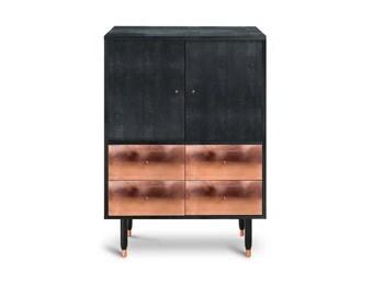 Cabinet Gullfoss. Midcentury Modern. Copper Furniture. Scandinavian Design. Luxury Furniture. Black furniture