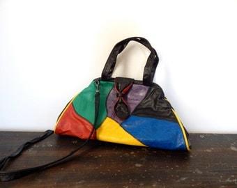 vintage leather patchwork bag 80s black leather handbag hobo bag boho purse colorful purse bright crossbody bag shoulder bag rocker chic