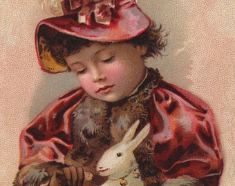 Victorian Girl With A Rabbit - New 4x6 Photo Print - TC042