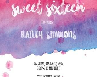 Watercolor Sweet 16 Invitation (Printable Digital File)