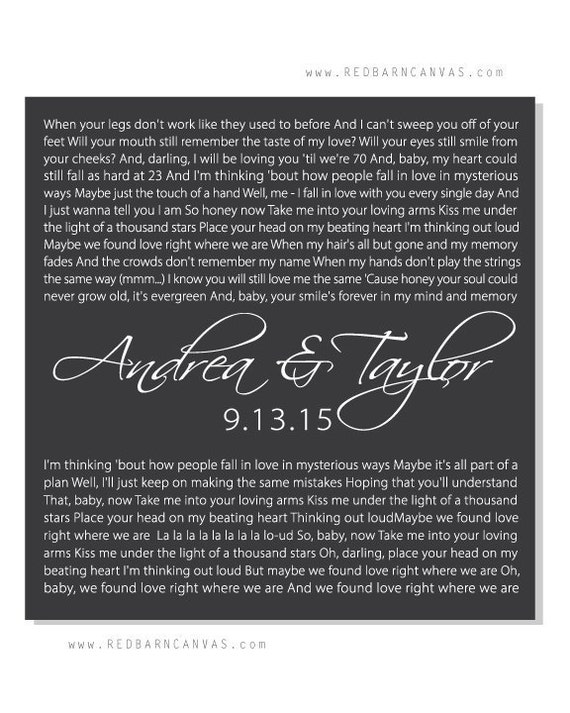 Thinking Out loud Ed Sheeran Song Lyrics on Canvas Wedding