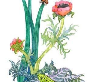 Marsh Frog No. 1, Archival Print of Original Watercolor, you choose size