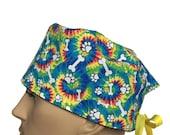 Surgical Scrub Cap - White Paws & Bones Scrub Hat - Colorful Tie Dye Dog Paws unisex scrub hat - dog lovers scrub hat - animals scrub hat