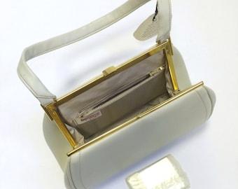Unused 1960's Purse - NOS - Creamy White 60's Hand Bag - Mad Men Style
