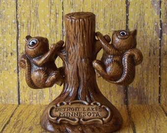 Adorable  Squirrel Salt & Pepper Shakers with Tree