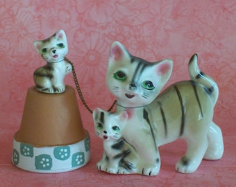 Vintage Striped Cat with Kittens - Japan