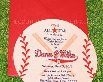 Baseball Invitation, Die Cut Baseball Invitation, Baseball Baby Shower Invitation