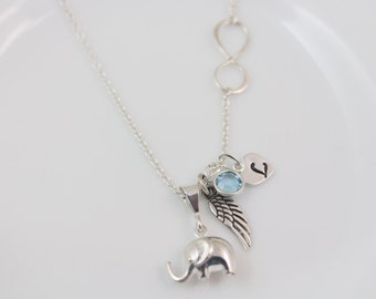 STERLING Silver Elephant Necklace with Angel wing, Custom charms, Personalized charms, Elephant Infinity jewelry, MonyArt original