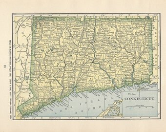 CONNECTICUT Map Print, 1920s Wall Decor, Florida Antique Map Atlas, Art Illustration to Frame, Atlas Print, Book plate, Small Print, A-28
