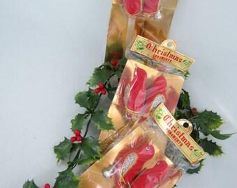 Vintage Flocked Bird Ornament - Red Flocked Bird - Clip On Bird Ornament - Christmas Bird Ornament - NOS Ornaments-Free Shipping -11HTT15