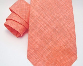Men's Necktie - Coral Crosshatch