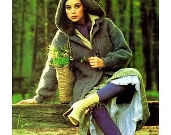 "Vintage Knit 70's ""HOODED"" Coat - PDF Pattern"