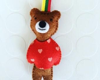Cute teddy bear keychain red sweater