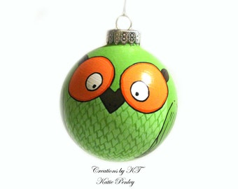 Lime Green Orange Owl Ornament Hand Painted Made to Order