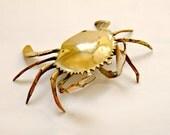Vintage Brass Crab Trinket Dish