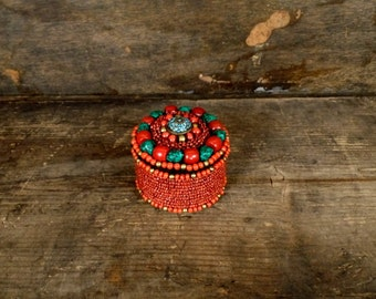 Small red/turquoise blue beaded jewelry box/ethnic beaded small container/pill box