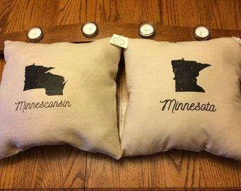 Handmade Minnesota  or Minnesconsin Pillow