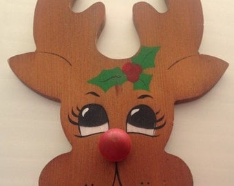 Vintage Christmas Wall Decor, hand carved folk art red nosed reindeer plaque, vintage holiday decor, wood reindeer wall display
