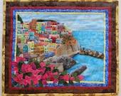 Village on the Hill-Greece, Fiber Art Quilt, City Landscapes