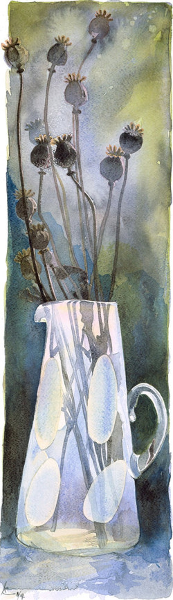 Poppy seed heads in a vase, Watercolour Giclée print