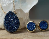 Peacock Blue Druzy Necklace, Blue Druzy Necklace, Druzy Quartz Necklace, Druzy Agate Necklace, Titanium Druzy, Simple Necklace, Drusy