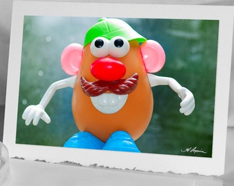 Mr. Potato Head, Photo Greeting CARD, Children Blank Notecard, Fun Unique and Original 4x6 picture on 5x7 card stock, Classic toy for kids