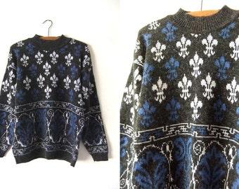Fleur de lis Mock Neck Sweater - 90s Hip Hop Style Boxy fit Patterned Oversize Jumper - Womens Large