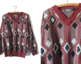 Abstract Coogi Style V Neck Sweater - 90s Dark Red Geometric Print Vintage Jumper - Mens Large