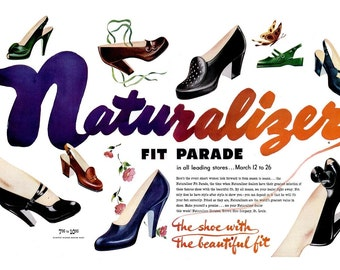 1949 Naturalizer Shoes Magazine Spread, RCA Victor & Old Gold Cigarettes Ad Stiletto Shoe High Heels Fashion Poster Pumps 40s Wall Art Decor