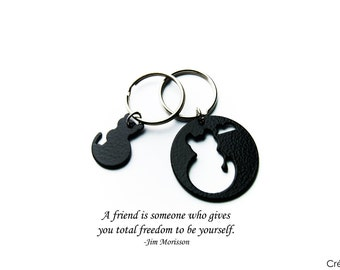 Bff,best friends keyring,bff keychain,best friend keychain,cat keyring,black cat,cat keyring,cat,best friends,cat love,friendship