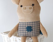 pig  stuffed piggy, eco pig, messenger doll, lucky pig, pig doll, wishing luck, new year gift for toddler