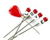Valentines Day Embellishment Pins, Set of 5, Decorative Straight Pins, Valentines Day, Love, Red Heart Stitching Pins