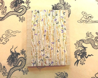 "Hand-made Notepad: ""Purple Butterflies""-  Chiyogami paper- Write in style for school or lecture notes, lists, ideas, organization."