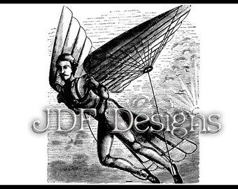 Instant Digital Download, Vintage Victorian Era Graphic, Man in Flight with Mechanical Wings, Steampunk, Antique Printable Image, Scrapbook