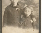 Antique Cabinet Photograph of Boy and Girl in Matching Sweaters