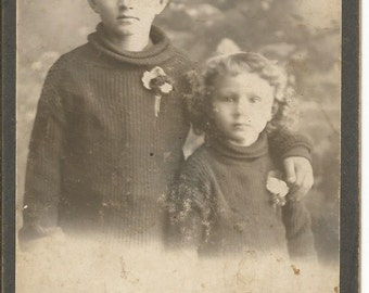 Antique Cabinet Photograph of Boy and Girl in Matching Sweaters Black and White