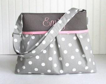 Mongrammed Gray Polka Dot Diaper Bag with Pink Lining Size Medium Adjustable Strap Custom Monogrammed