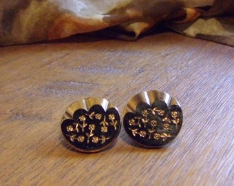 Glass Cuff Buttons Black Glass With Gold Carved Roses Chain and Matching Smaller Button Vintage 1930s 1950s