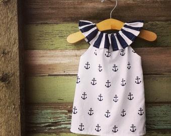 Girls Dress, Beach Dress, Anchor Dress, Navy Summer Dress, coordinating, beach outfit, stripes, memorial day, girls, simple, sister dresses