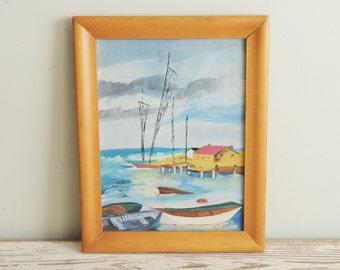 Mid Century Sailboat Painting Nautical Signed