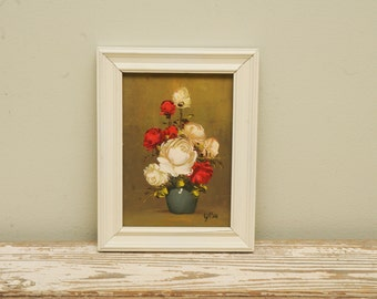 Vintage Painting Roses Red White SMALL
