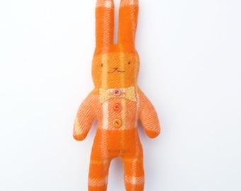 Rabbit Plushie, Bunny Soft Toy, Stuffed Animals, Upcycled Softie, Eco Friendly Toy, Orange Rabbit, Woodland Plushies