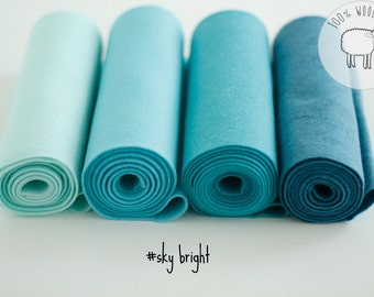 Wool felt sheets sky bright, blue felt bundle, shades of blue wool felt rolls, choose the size of the sheets/rolls , Ships from Ireland