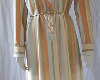 Vintage 70's LANVIN Shirtwaist DRESS /Polyester/Designer/ peach/teal button down size 18