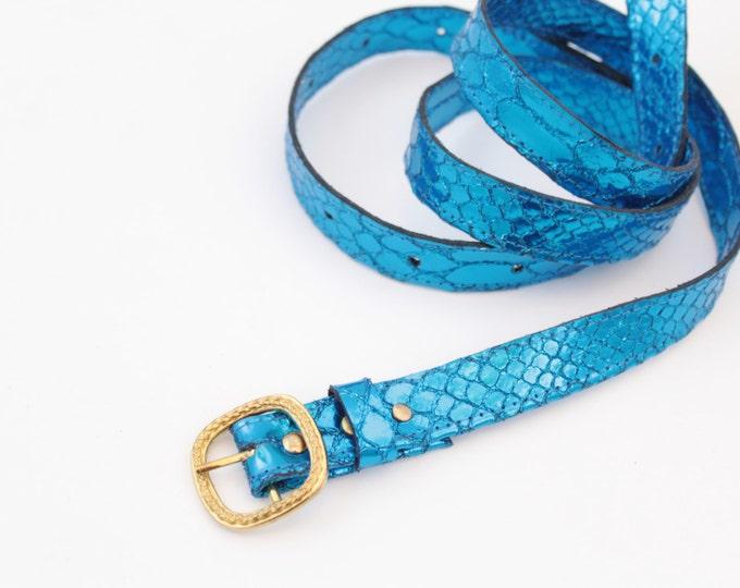 Blue metallic snake leather belt - Ready to Ship