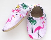 Flamingo Baby Girl Shoes, 6-12 mos. Baby Booties, Baby Girl Soft Shoes, Slip On Baby Shoes, Baby Girl Gift