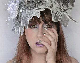 Silver metallic 3-D floral crown Art Fashion crown unique dramatic headpiece headdress fascinator hat
