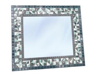 Large Mosaic Wall Mirror, Beach House Decor,  Gray White Aqua