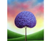 Giclee Art Print of Lavender Tree, Colorful Art Print of Landscape Painting, Country Rustic Wall Art, Contemporary Art, Purple Tree Print